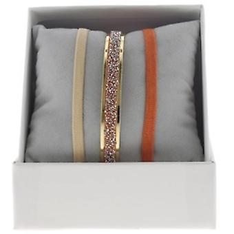 Box interchangeable A49386 - ring Ribbon 4 mm Fabric ornaments gold / Crystal woman