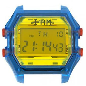 Watch I Am The Watch IAM-106 - Blue Box Translucent Yellow Glass and Red Buttons / Horn Set 20 mm