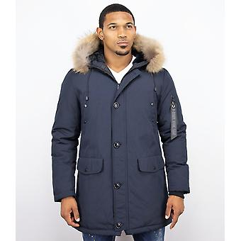 Parka Coat - With Fur Collar - Blue