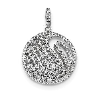 20mm 925 Sterling Silver Rhodium plated CZ Cubic Zirconia Simulated Diamond Pendant Necklace Jewelry Gifts for Women