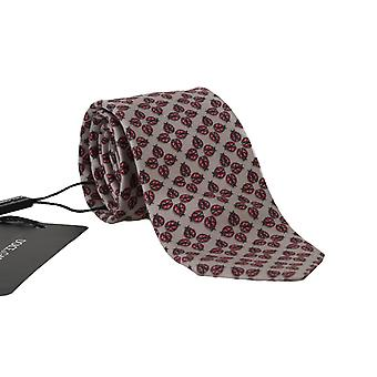 Dolce & Gabbana Gray Silk Red Ladybug Print Classic Tie