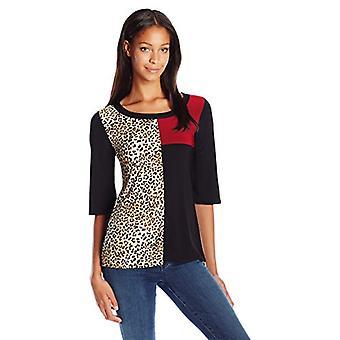 Star Vixen Women's 3/4 Sleeve Scoop Neck Tri Colorblock Tunic-Length Ity Top ...