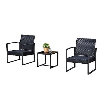Outsunny 3PC Rattan Coffee Table and 2 Chairs Set Bistro Set Garden Yard Outdoor Patio Wicker Furniture Black