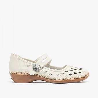 ريكر 41375-80 السيدات الجلود اللمس ربط قطع الأحذية كريم