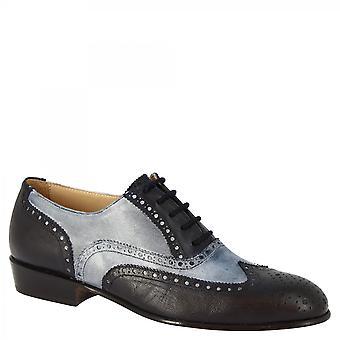 Leonardo Shoes Women's handmade classy oxford shoes in gray blue goat leather