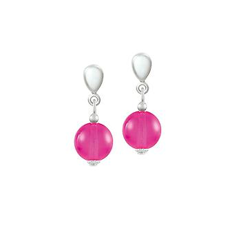 Eternal Collection Joyous Dark Pink Czech Glass Drop Clip On Earrings
