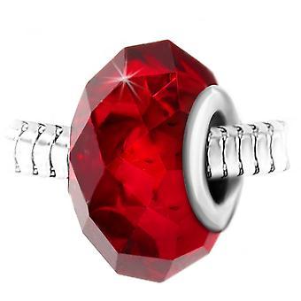 Charm pärlstav röda kristall faset och stål av SC Crystal BEA0011