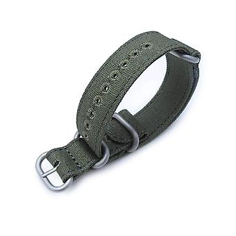 Strapcode n.a.t.o watch strap 20mm miltat canvas g10 military watch strap, military color with lockstitch round hole, forest green