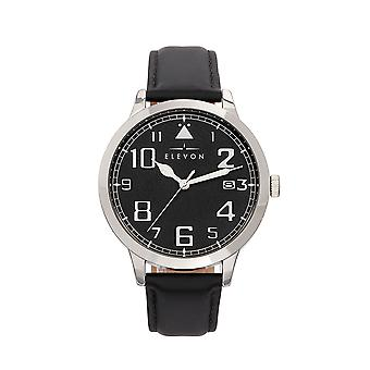 Elevon Sabre Leather-Band Watch w/Date - Silver/Black/Black