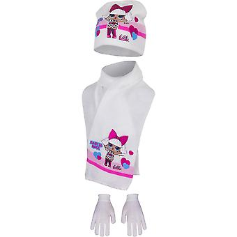 Lol surprise girls hat scarf and gloves born to rock