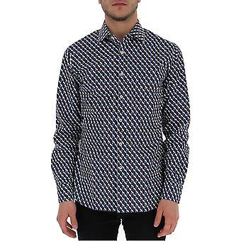 Prada Ucm6081ursf0d57 Männer's blaue Baumwolle Shirt