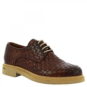 Leonardo Shoes Men's handmade lace-ups shoes in brandy woven calf leather