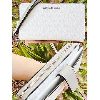 Michael kors jet set medium zip around phone holder wallet wristlet bright white mk