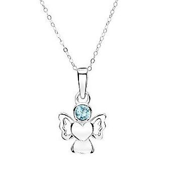 Jo For Girls Sterling Silver Angel Pendant Simulated March Birthstone Necklace