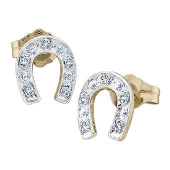 Diamond Horse Shoe Earrings 1/20 Carat (ctw) in 10K Yellow Gold