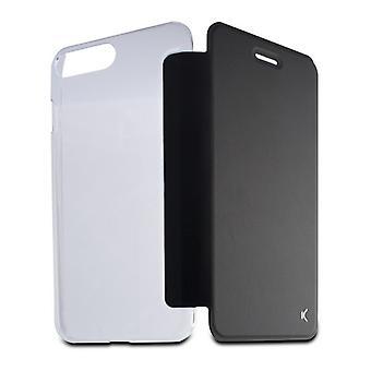 Folio Matkapuhelin tapauksessa Iphone 8 Plus KSIX Crystal Musta