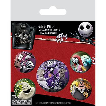Nightmare Before Christmas Characters Pin Button Badges Set