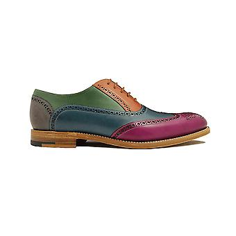 Barker Valiant Multi Coloured Painted Calf Leather Mens Oxford Lace Shoes