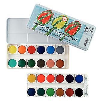 Talens Transparent Watercolour Paint Tin Set (24 Pans & 1 Tube)
