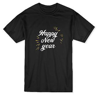"""Swirly """"Happy New Year"""" Sparkles Around Graphic Quote Men's T-shirt"""