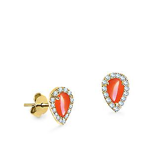 Earrings Pear Cut Coral 18K Gold and Diamonds - Yellow Gold
