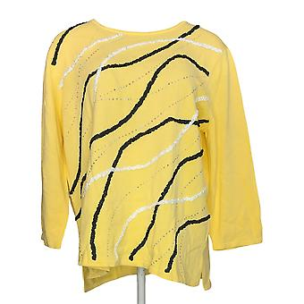 Alfred Dunner Women's Sweater 3/4 Sleeve w/Embellished Front Yellow