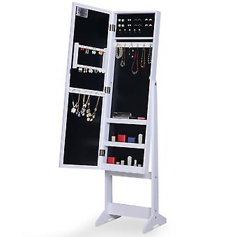 HOMCOM Free Standing LED Mirrored Jewelry Cabinet Armoire Floor Organiser W/ Lock 3 Angle Adjustable For Rings Earrings Bracelets Cosmetics White