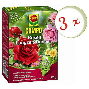 Sparset: 3 x COMPO roses long-term fertilizer, 850 g