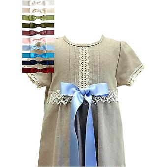 Christening Gown I Natural Linen With 10 Choices Of Bow, Grace Of Sweden