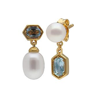 Moderni Pearl & Blue Topaz yhteensopimaton Pudota korvakorut kullattu Sterling Hopea 270E030205925