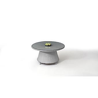 Polyrattan Table à manger Classique 140 cm, rond - satiné gris