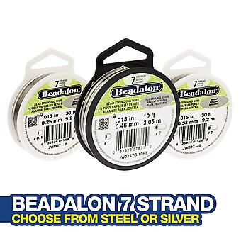 Beadalon 7 Strand Beading/String Wire - Bright Steel or Sterling Silver