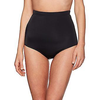 Coastal Blue Women's Control Swimwear Bikini Bottom, Black, L (12-14)