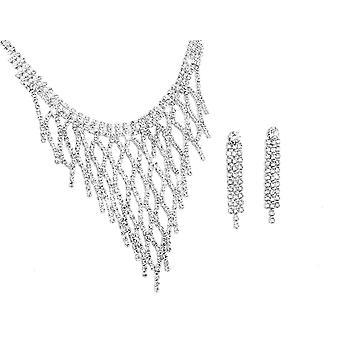 2 X Conjunto de dos piezas de Idala - Plata y rosa incrustados con cristales de Swarovski