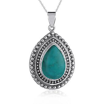 ADEN 925 Sterling Silver Turquoise Pear Shape Hanger Ketting (id 4304)