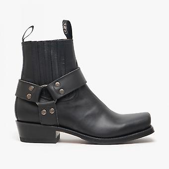 Sendra 8286 Mens Leather Harness Biker Boots Black