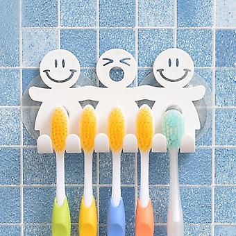 Wall Mount Funny Smiling Face 5 Position Toothbrush Holder Rack Stand Organizer