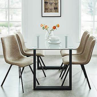 Dahlia/Archer 5Pc Dining Set - Black Table/Brown Chair