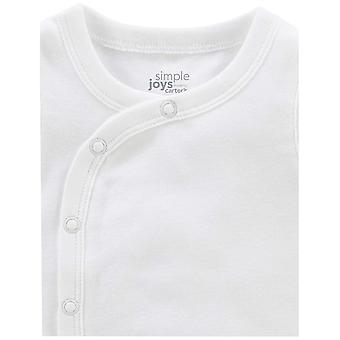 Simple Joys by Carter's Baby 6-Pack Side-Snap Short-Sleeve Shirt, White, Newb...