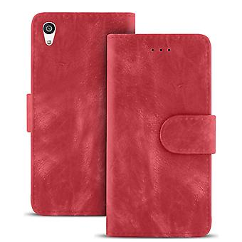 Vintage Microfiber Case for Sony Xperia Z5 Magnetic Buckle Leather Card Compartment Red