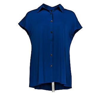H By Halston Women's Regular Top Extended Shoulder W/ Collar Blue A303183