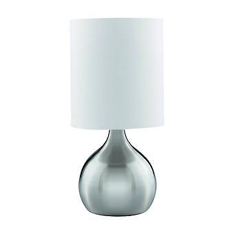 Searchlight Touch - 1 light table touch lampa satynowa srebrna z odcieniem tkaniny, E14