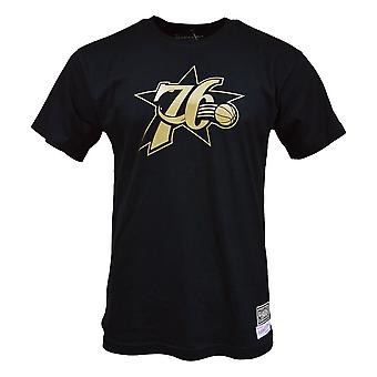 Mitchell & Ness Midas Tee Philadelphia 76ERS BMTRBW19104P76BLCK camiseta universal de homens de verão