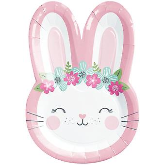 Birthday Cute Bunny Face Paper Party Plates x 8