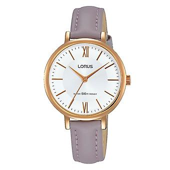 Lorus Damen elegante Mauve LederArmband Uhr Rose vergoldet Fall (RG264LX6)