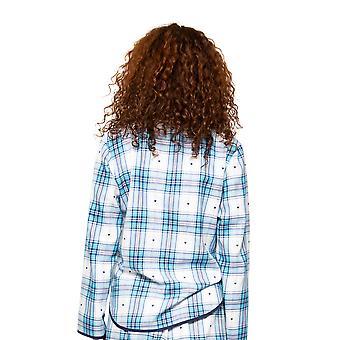 Cyberjammies Stella 4617 Femmes-apos;s White Mix Heart Dobby Check Pyjama Top