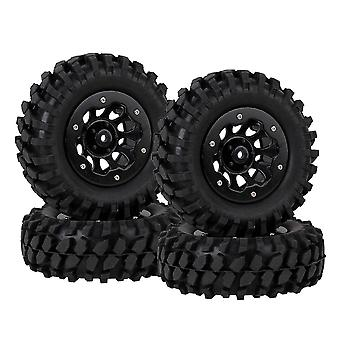 4pcs 10 Holes Wheel Rim w/ Beadlock Black& Rubber Tire