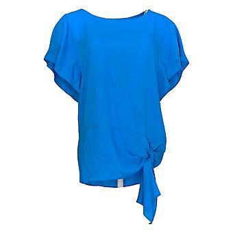 Belle af Kim Gravel Women's Top (XXS) Flutter Slv Side Tie Blue A303505