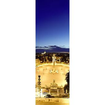Town square with St Peters Basilica in the background Piazza del Popolo Rome Italy Poster Print