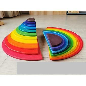 Wooden Rainbow Building Blocks, Balls Plate Toy